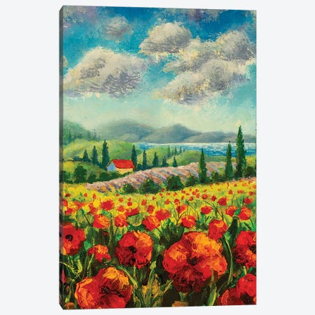 Landscape With Cypress Trees, Red Poppies, Beautiful Sea Canvas Print #VRY428} by Valery Rybakow Canvas Wall Art