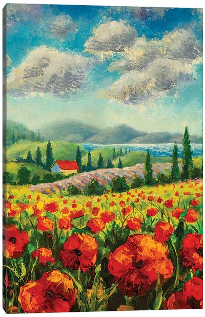 Landscape With Cypress Trees, Red Poppies, Beautiful Sea Canvas Art Print