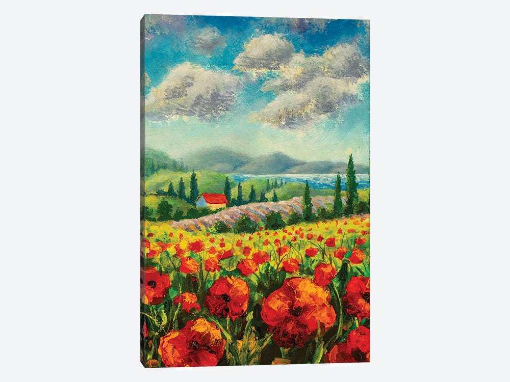 Landscape With Cypress Trees, Red Poppies, Beautiful Sea by Valery Rybakow 1-piece Art Print