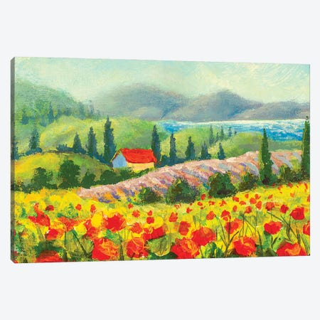 Painting Country Houses On Beautiful Slopes In Meadows. Canvas Print #VRY429} by Valery Rybakow Canvas Art