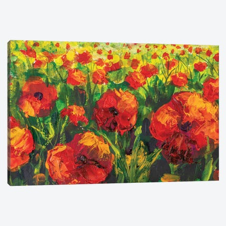 Red Poppies Spring Meadow Flower Painting. Canvas Print #VRY430} by Valery Rybakow Canvas Print