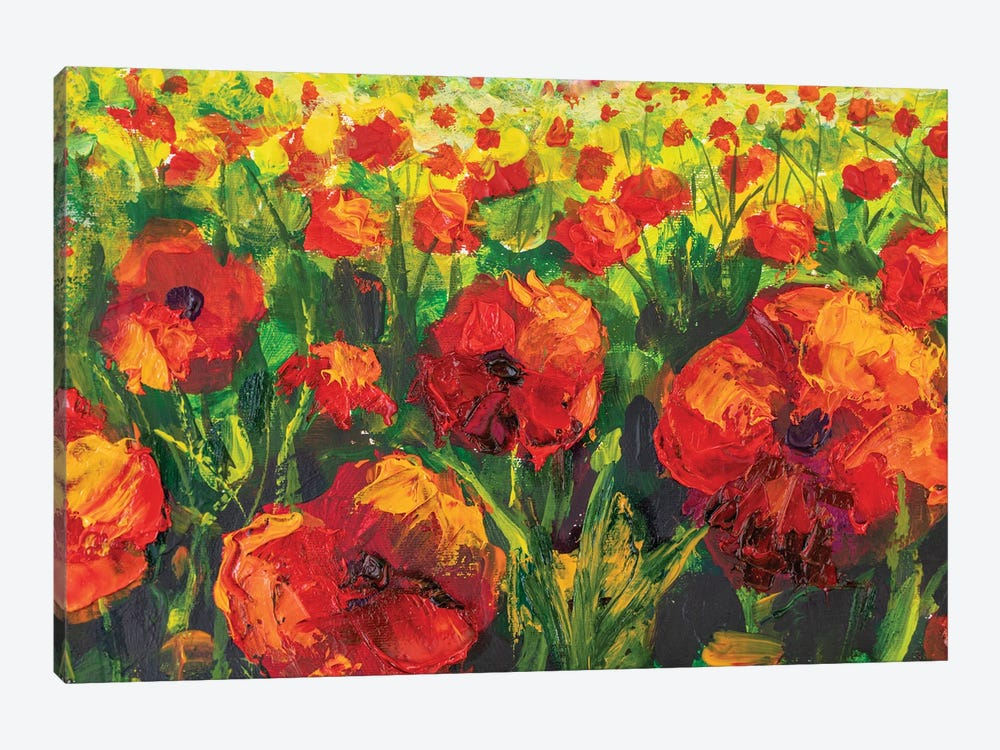 Red Poppies Spring Meadow Flower Painting. by Valery Rybakow 1-piece Canvas Artwork