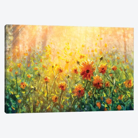 Flower Field In Forest Under The Morning Sunlight Canvas Print #VRY435} by Valery Rybakow Canvas Art