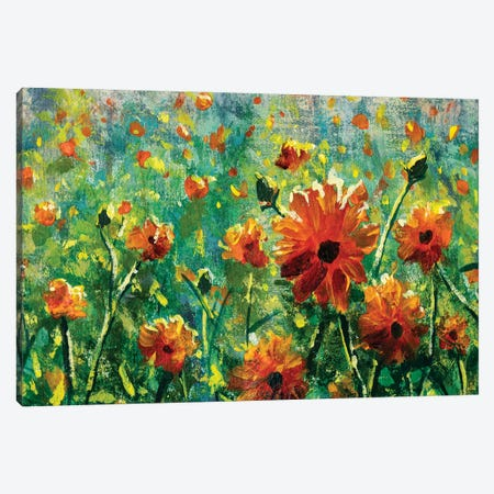 Beautiful Flower Field Close-Up Canvas Print #VRY437} by Valery Rybakow Canvas Artwork