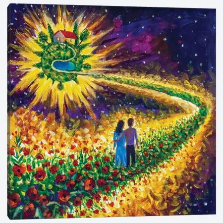 Couple In Love Walk Flower Road In Cosmos To Their Dream Canvas Print #VRY438} by Valery Rybakow Canvas Print