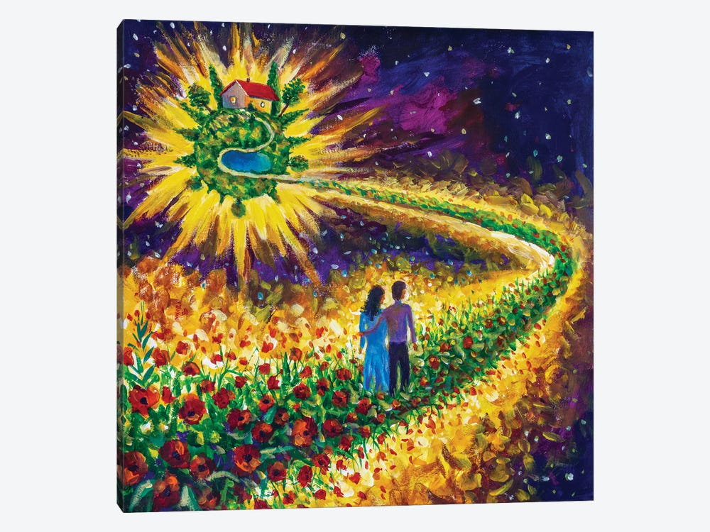Couple In Love Walk Flower Road In Cosmos To Their Dream by Valery Rybakow 1-piece Canvas Artwork