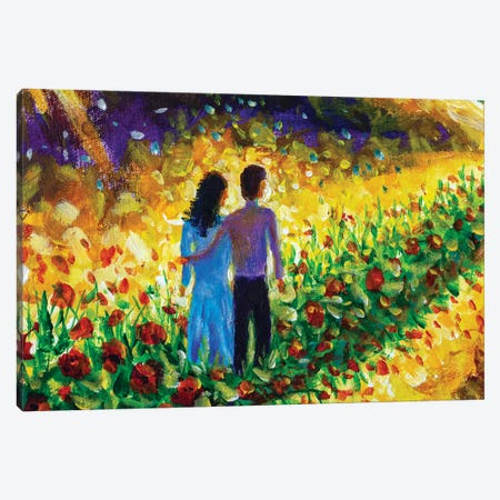 Couple In Love, Family, Boyfriend And Girlfriend Walk Flower Road In Cosmos To Their Dream Canvas Print #VRY439} by Valery Rybakow Canvas Print