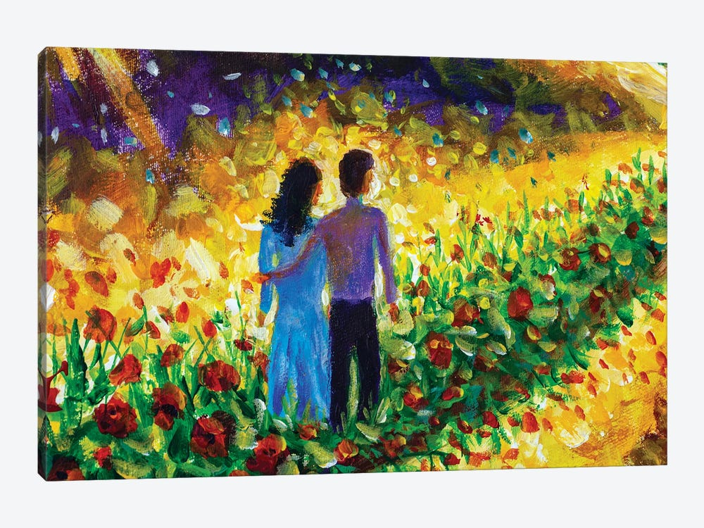 Couple In Love, Family, Boyfriend And Girlfriend Walk Flower Road In Cosmos To Their Dream by Valery Rybakow 1-piece Canvas Print