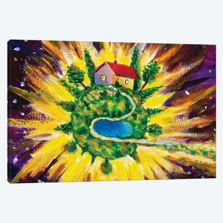 Small Cozy Green Planet With Village House Canvas Print #VRY440} by Valery Rybakow Canvas Wall Art