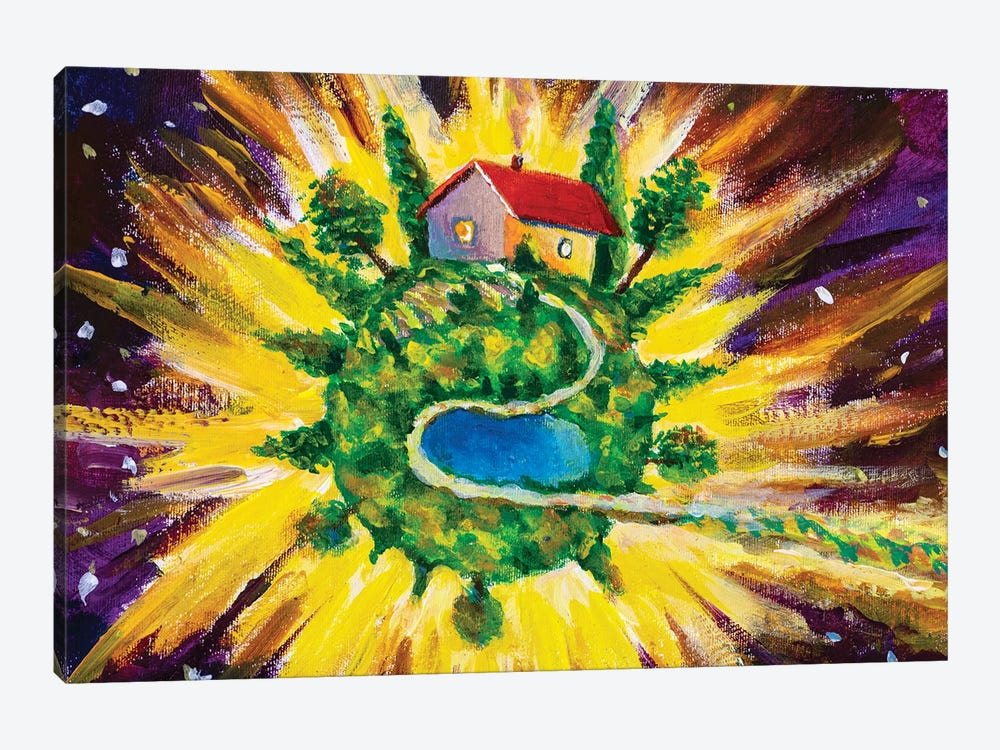 Small Cozy Green Planet With Village House by Valery Rybakow 1-piece Art Print