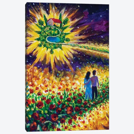 Couple In Love Walk Flower Road In Cosmos To Dream Canvas Print #VRY441} by Valery Rybakow Canvas Artwork