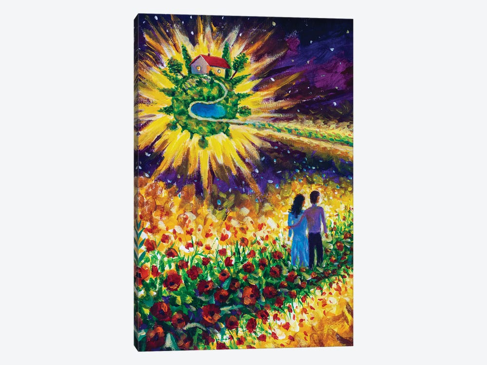 Couple In Love Walk Flower Road In Cosmos To Dream by Valery Rybakow 1-piece Canvas Wall Art