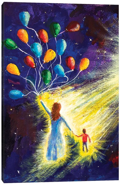 Mom And Son, A Family Fly In Space Cosmos Canvas Art Print