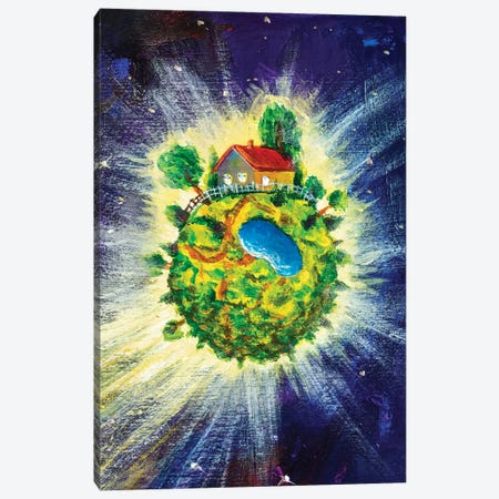Small Cozy Green Planet With Village House Canvas Print #VRY443} by Valery Rybakow Canvas Artwork