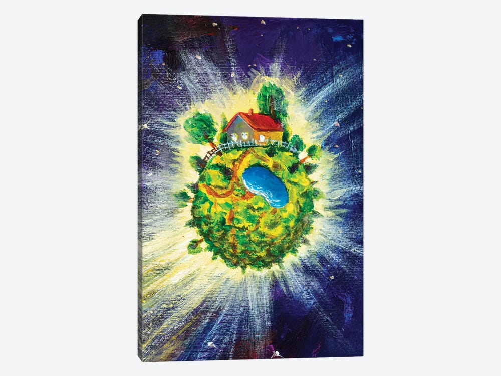 Small Cozy Green Planet With Village House by Valery Rybakow 1-piece Canvas Wall Art