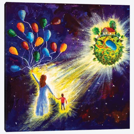 Family Are Flying In Starry Cosmos Space On Balloons To His Dream Canvas Print #VRY445} by Valery Rybakow Canvas Art Print