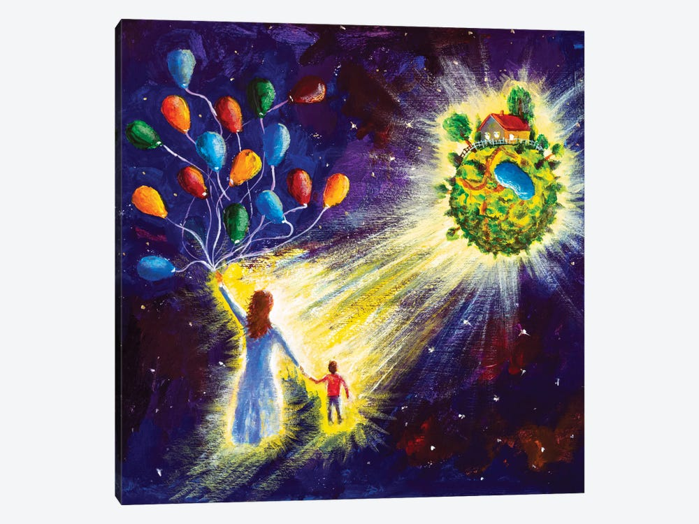 Family Are Flying In Starry Cosmos Space On Balloons To His Dream by Valery Rybakow 1-piece Canvas Wall Art