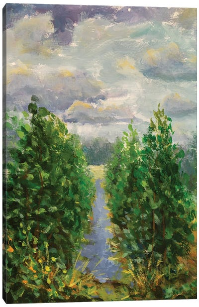 Painting Green Trees With River And Field Canvas Art Print