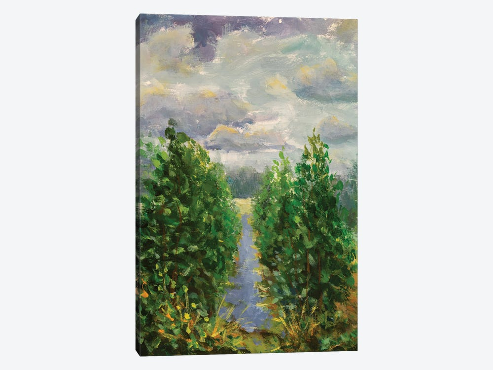 Painting Green Trees With River And Field by Valery Rybakow 1-piece Canvas Print