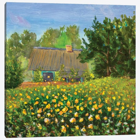 Painting Old House With Orange Wildflowers Flower Field Canvas Print #VRY447} by Valery Rybakow Canvas Art Print