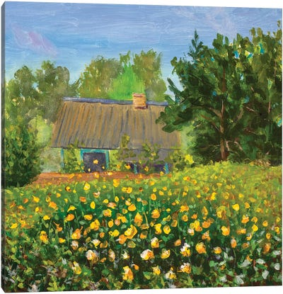 Painting Old House With Orange Wildflowers Flower Field Canvas Art Print