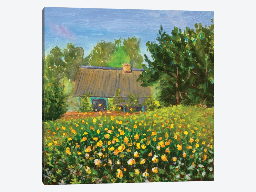 Painting Old House With Orange Wildflowers Flower Field by Valery Rybakow 1-piece Canvas Wall Art