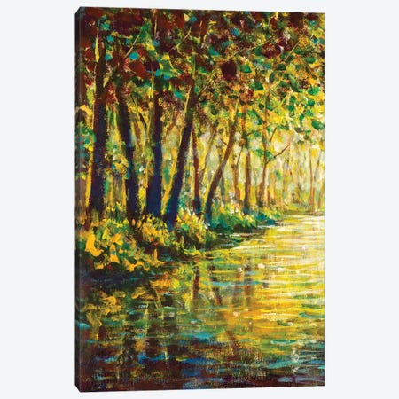 River In A Sunny Autumn Forest Canvas Print #VRY448} by Valery Rybakow Canvas Wall Art