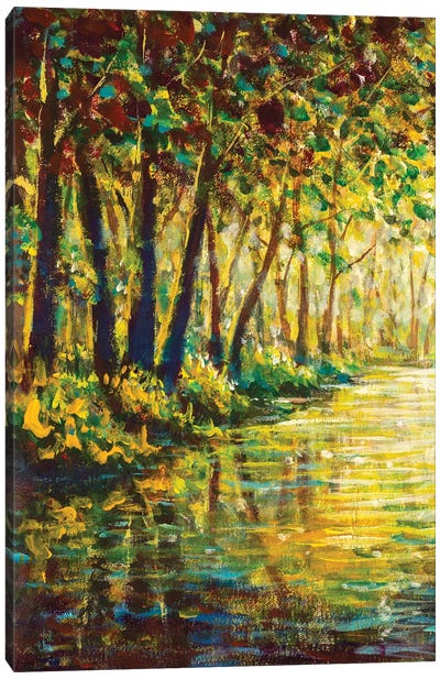 River In A Sunny Autumn Forest Canvas Art Print