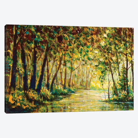 River In A Sunny Autumn Forest Painting Canvas Print #VRY449} by Valery Rybakow Canvas Artwork