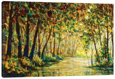 River In A Sunny Autumn Forest Painting Canvas Art Print