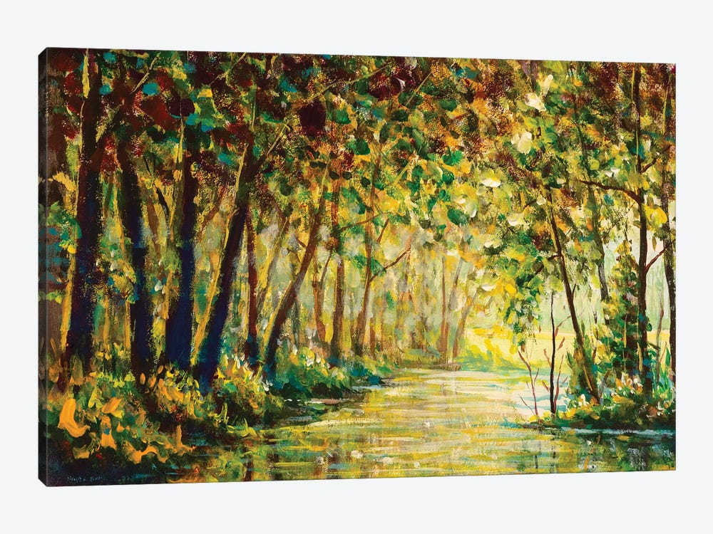 River In A Sunny Autumn Forest Painting by Valery Rybakow 1-piece Canvas Artwork