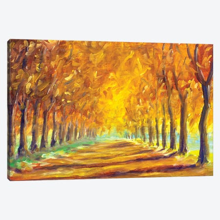 Gold Autumn Alley Canvas Print #VRY44} by Valery Rybakow Canvas Art Print