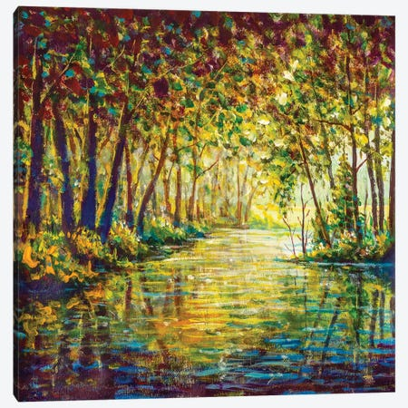Painting River In Sunny Autumn Forest Canvas Print #VRY450} by Valery Rybakow Canvas Art Print