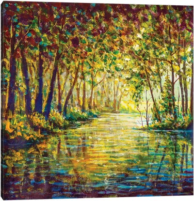 Painting River In Sunny Autumn Forest Canvas Art Print