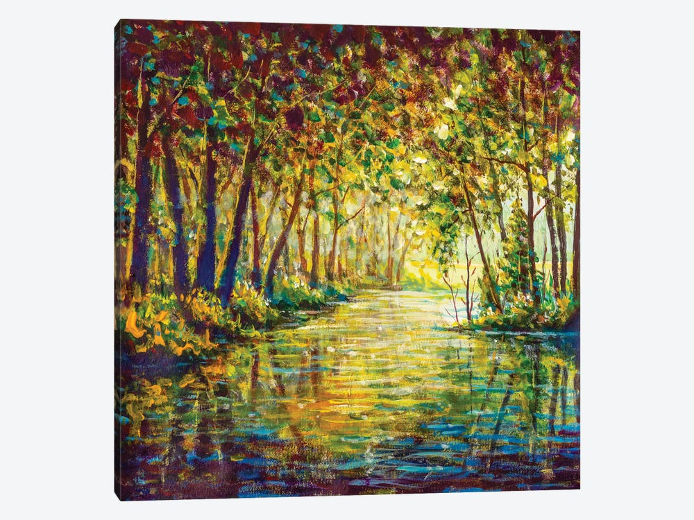 Painting River In Sunny Autumn Forest by Valery Rybakow 1-piece Canvas Artwork