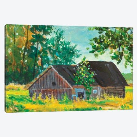 Painting Old Barn Farm Canvas Print #VRY452} by Valery Rybakow Canvas Art Print