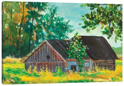 Painting Old Barn Farm Canvas Art Print