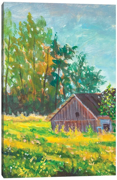 Rural Village Landscape Illustration Canvas Art Print
