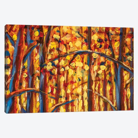 Gold Autumn Forest Impressianism Painting Canvas Print #VRY456} by Valery Rybakow Canvas Art