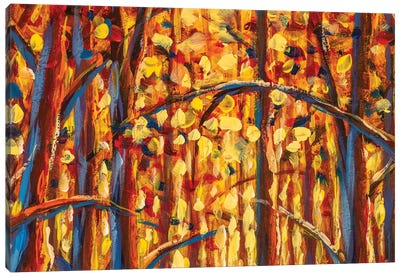 Gold Autumn Forest Impressianism Painting Canvas Art Print