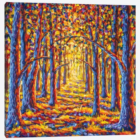 Painting Gold Autumn Trees In Forest Canvas Print #VRY457} by Valery Rybakow Canvas Wall Art
