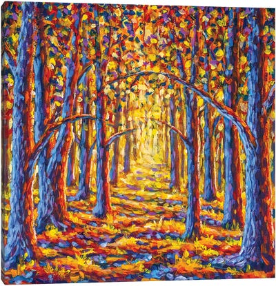 Painting Gold Autumn Trees In Forest Canvas Art Print