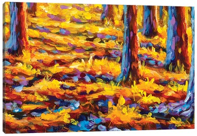 Gold Autumn Impressianism Painting Canvas Art Print