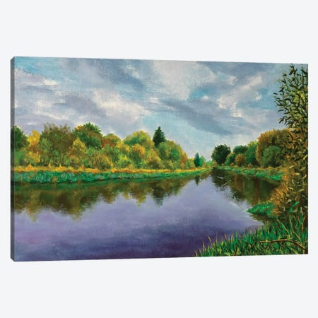 Autumn Forest Near The River Canvas Print #VRY459} by Valery Rybakow Art Print