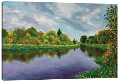 Autumn Forest Near The River Canvas Art Print
