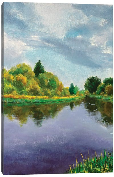 Autumn Trees On Lake Canvas Art Print