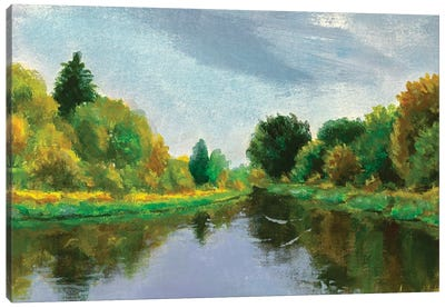 Spring On River Canvas Art Print