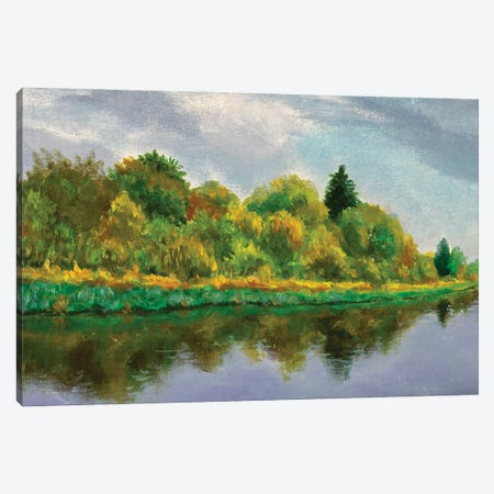 Orange Green Tree Reflected In Water Canvas Print #VRY462} by Valery Rybakow Canvas Wall Art