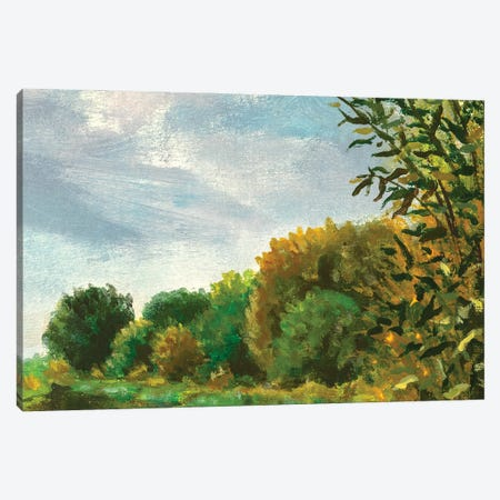 Autumn Forest Oil Painting Landscape Canvas Print #VRY463} by Valery Rybakow Canvas Wall Art