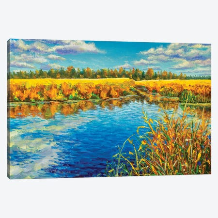 Sunny Autumn Day On Blue River Oil Painting Canvas Print #VRY464} by Valery Rybakow Art Print
